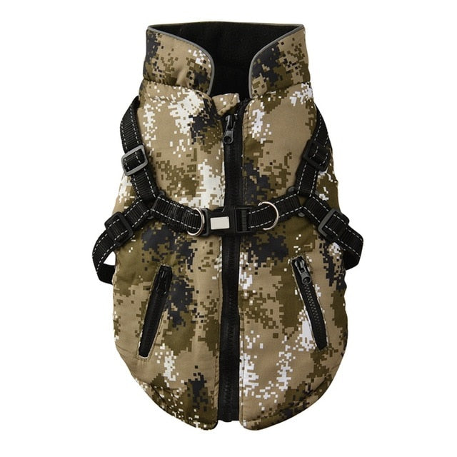 Army Fatigue Vest, Army, Camouflage, Harness, Sleeveless, Vest, Warm, Zipper, Clothing, Shoes & Accessories, HappyDog, dogs