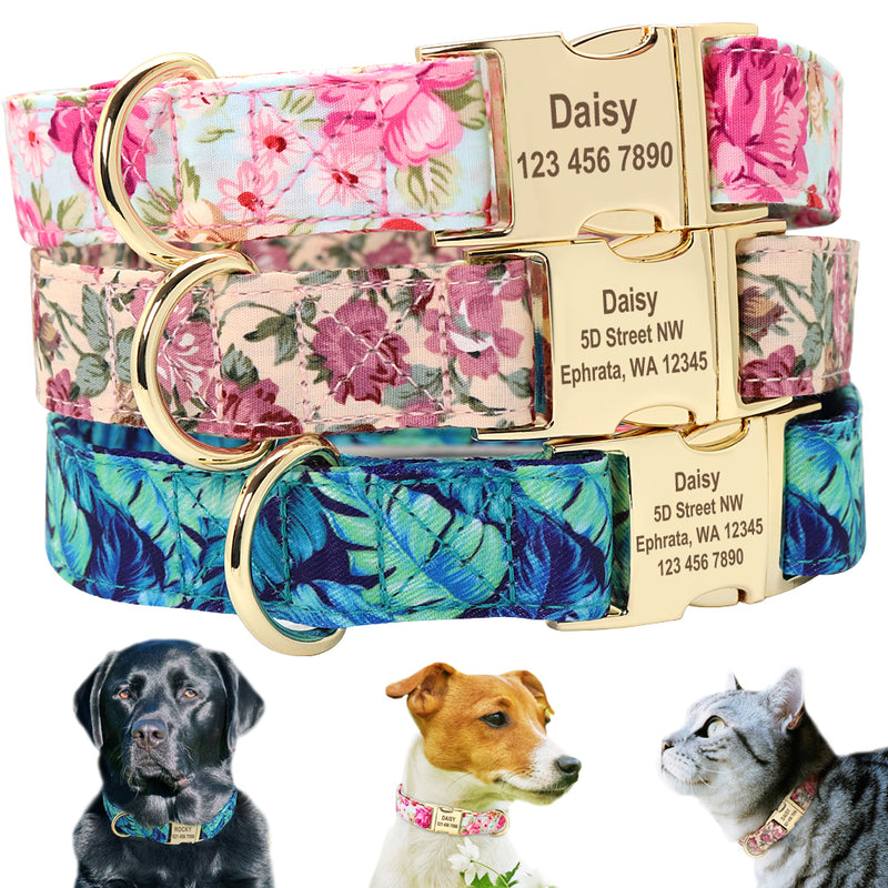 Personalized Floral Collar, Collar, Nameplate, Collars, Harnesses & Leashes, HappyDog, dogs