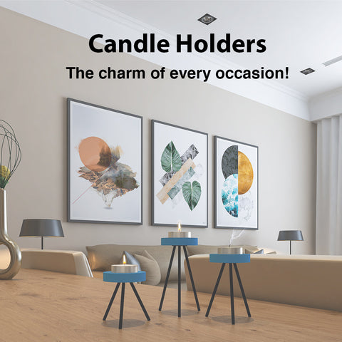 MDF and metal candle holder set