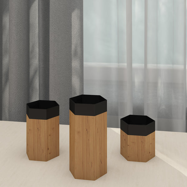 THE LAPPI COLLECTION - Hexagon candle holder set - CD-TB-HX-1-O