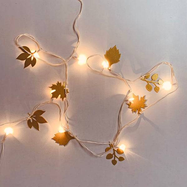 THE LAPPI COLLECTION - Hand crafted Gold leaves Fairy lights - FI-CH-RD-2-O