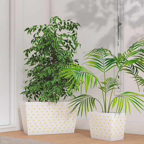 Pandala Patkar Planter Pot Family - White with Yellow Polka Dots