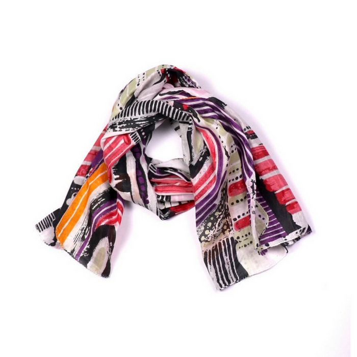 BRUSH ART PRINT COTTON SCARF