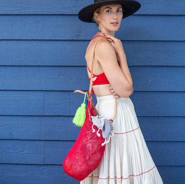 Mexican String & Tassel Shopper Bag in Red