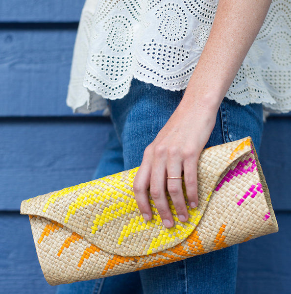 Mayumi Clutch in Tropical Palm Leaf Print