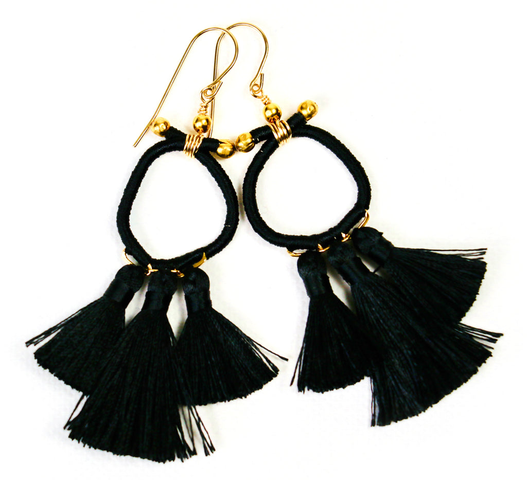 Marsha Tassel Earrings - Black