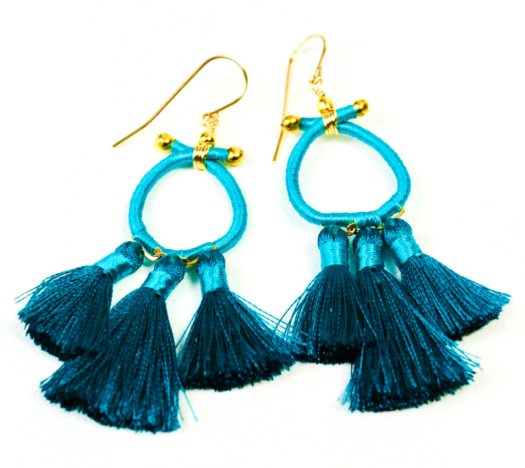 Marsha Tassel Earrings - Turquoise
