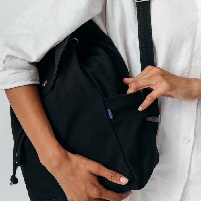 Recycled Cotton Canvas Backpack - Black
