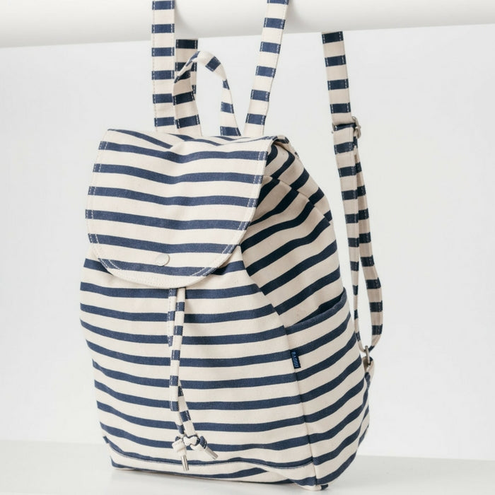 Recycled Cotton Canvas Backpack - Navy Stripe