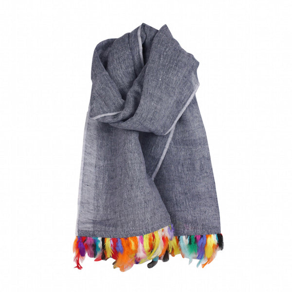 Linen & Feather Trim Scarf in Indigo