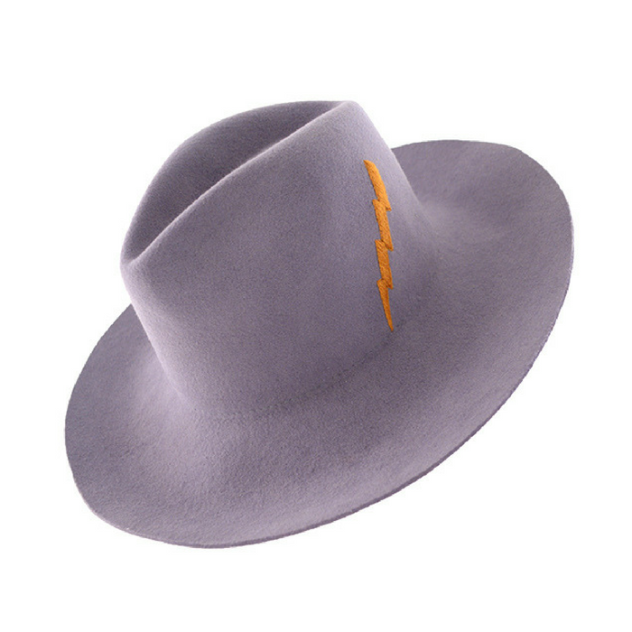 Classic wool felt hat handmade in Ecuador with a bit of Bowie fun