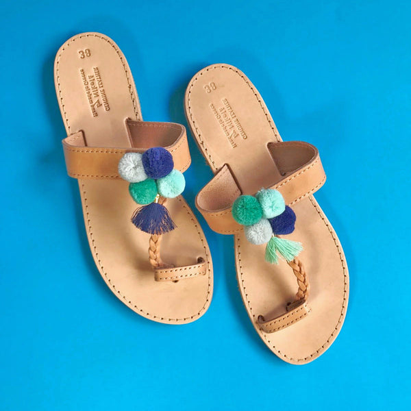Corfu Handmade Pom Pom Sandals in Sea Blue