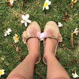 Woven Pom Pom Slippers in Rose