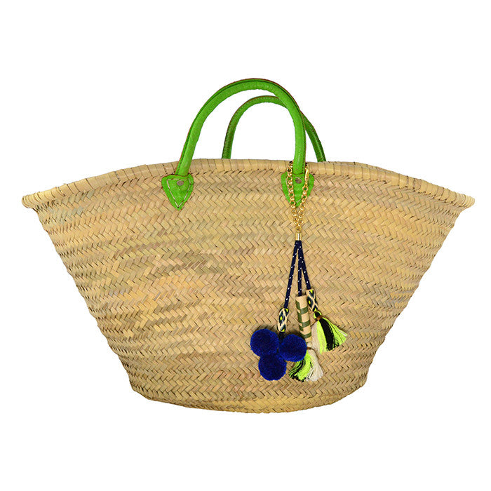 Kin Lab Collective Sustainable Market Pom Pom Ethical Charm Basket with green Leather Handles