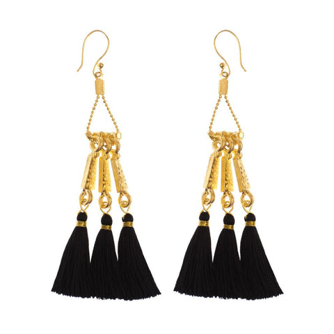tassel long dangle gold earrings