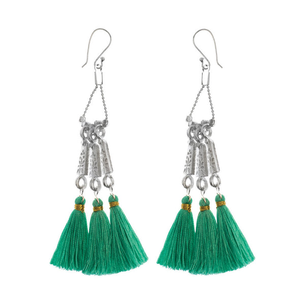 Long Tassel Earrings in Turquoise & Silver