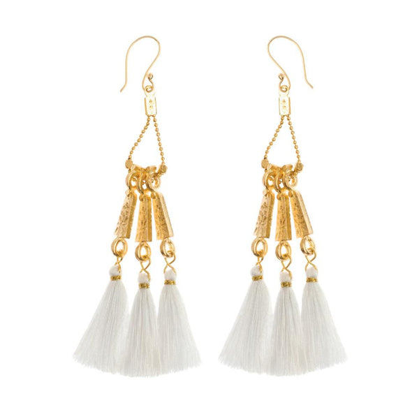 Long Tassel Earrings in White & Brass
