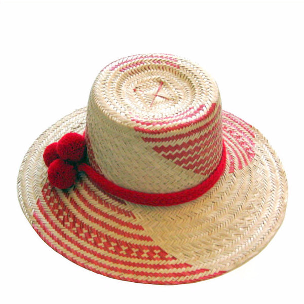 pom pom straw wayuu hat sunday tracker