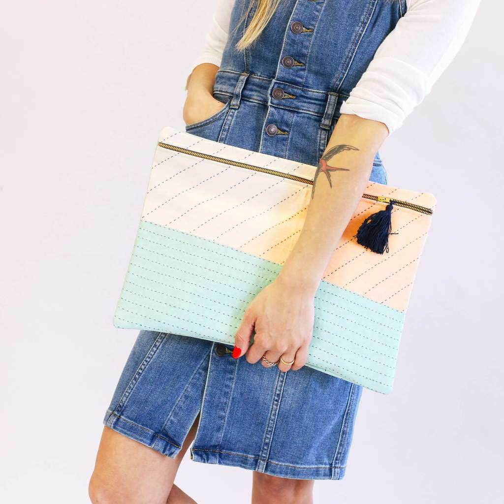 mint green and soft pink patchwork large clutch bag