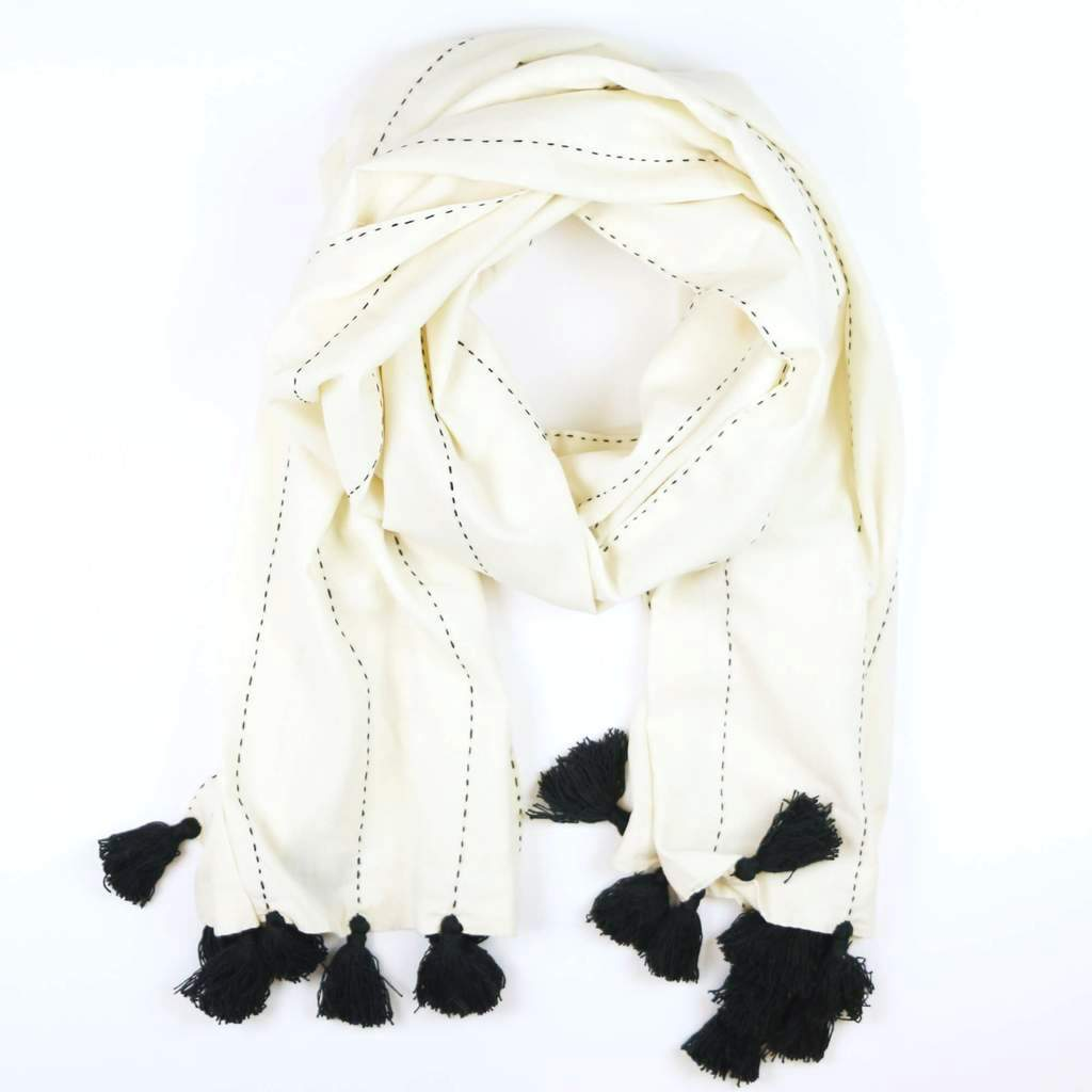 DIDI BLACK AND WHITE SCARF WITH TASSELS