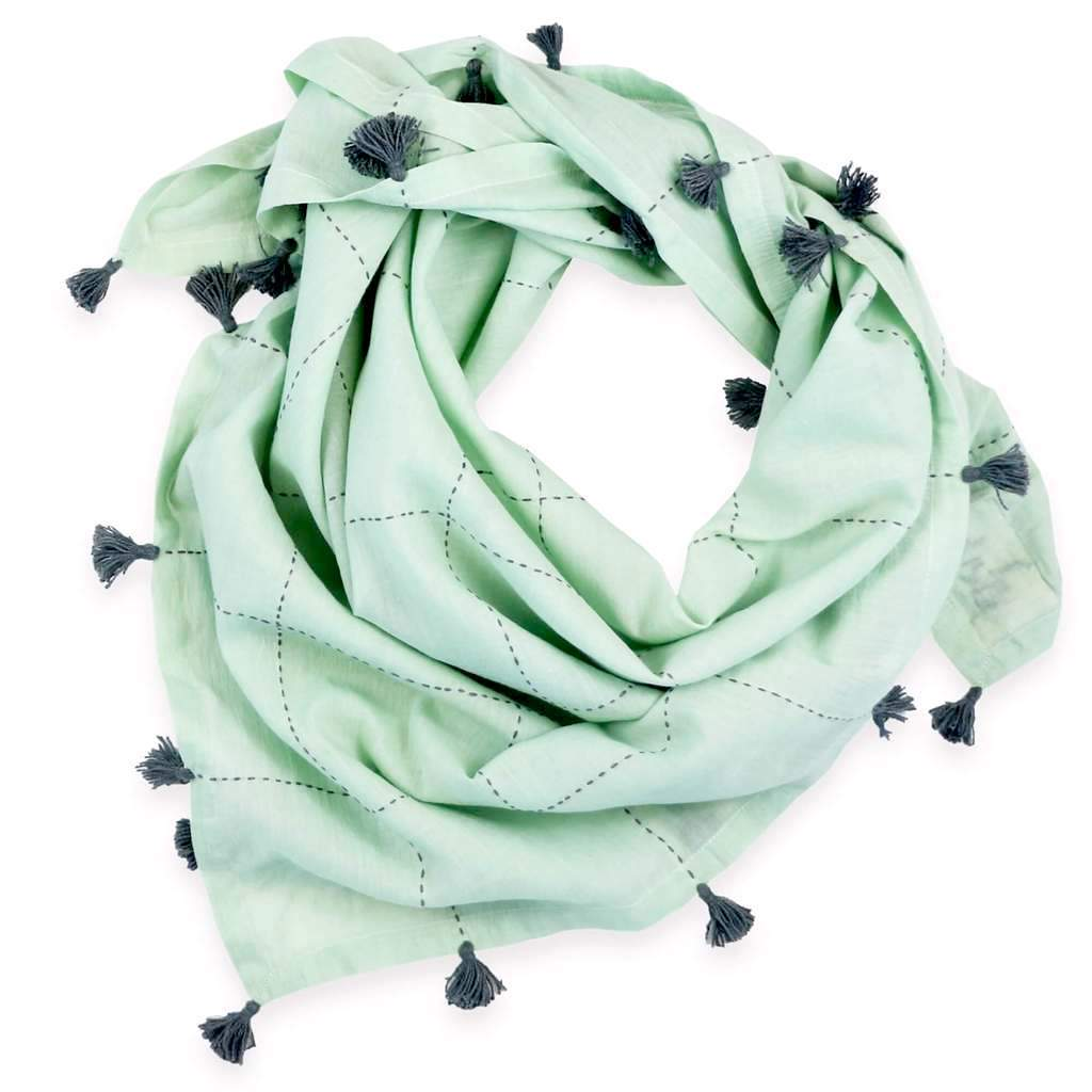 MINT SQUARE SCARF WITH TASSELS