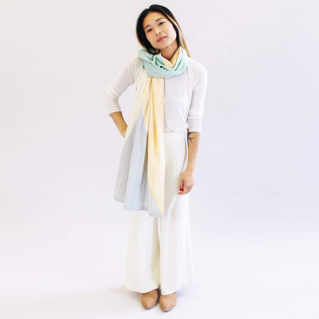 MINT PATCHWORK STRAIGHT SCARF