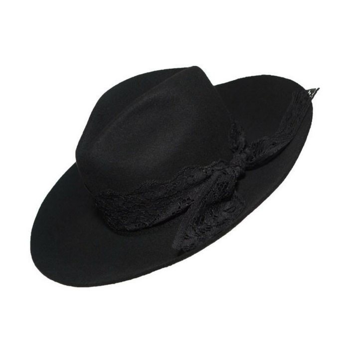 The Shade Black Hat with Lace