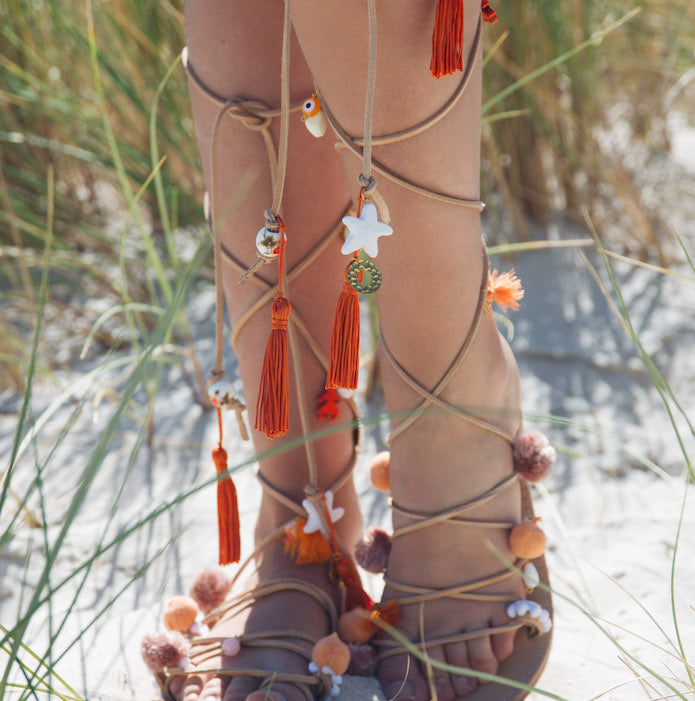 Sunday Tracker | The Ethical Fashion Store | Natural Pom Pom, Tassel & Vintage Charm Sandals