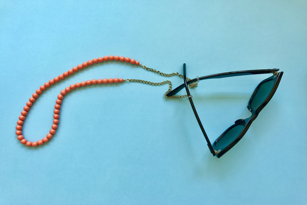 Peach Bead Eyewear Chain