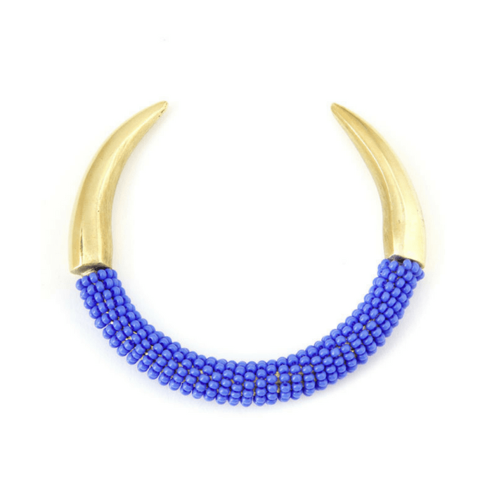 Brass Talon Bracelet with Blue Beads