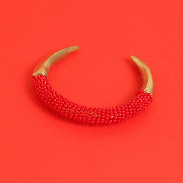 Brass Talon Bracelet with Red Beads