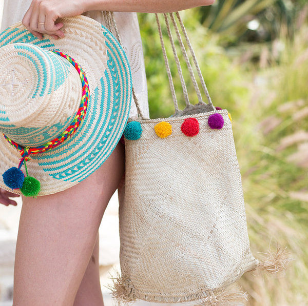 Ni Vanuatu Woven Pom Pom Bucket Bag in Natural