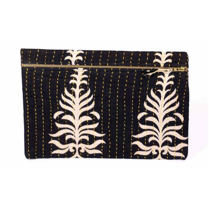 KANTHA POUCH - SMALL BLACK PALM LEAF