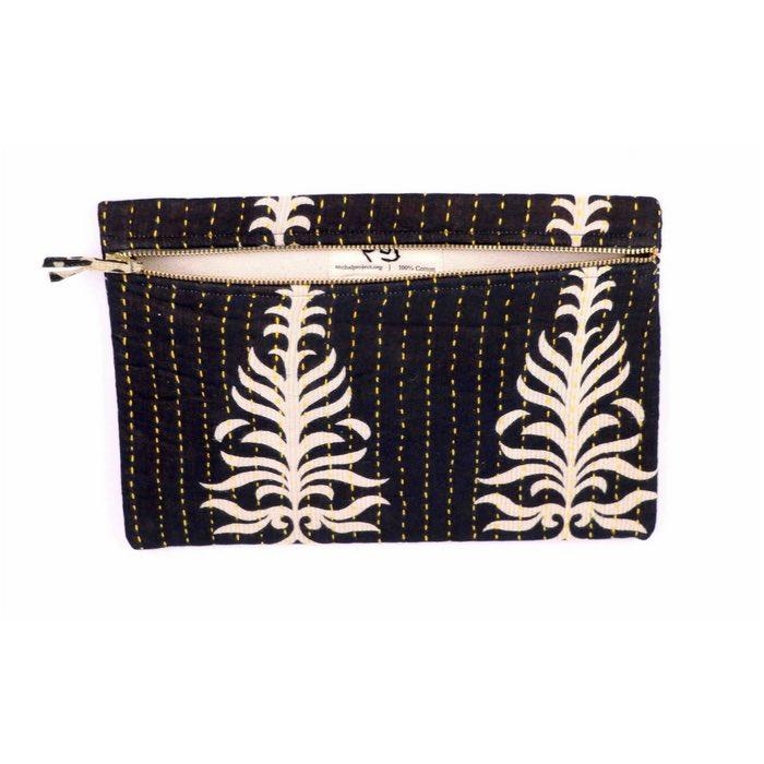 small black pouch complete with a palm leaf pattern is handcrafted using vintage cotton fabrics