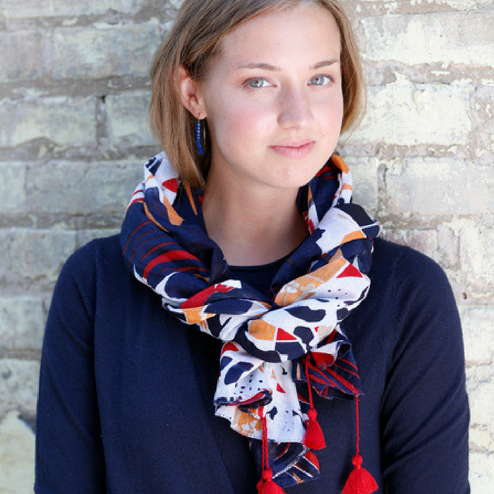 TOPOGRAPHY SCARF NAVY WITH RED TASSELS