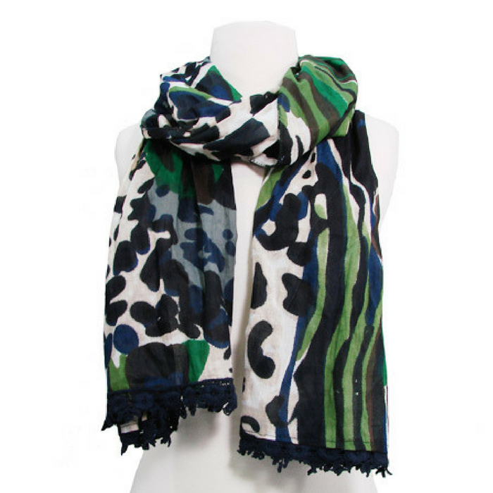 gorgeous navy print cotton scarf ethically made in India empowering women to better their lives