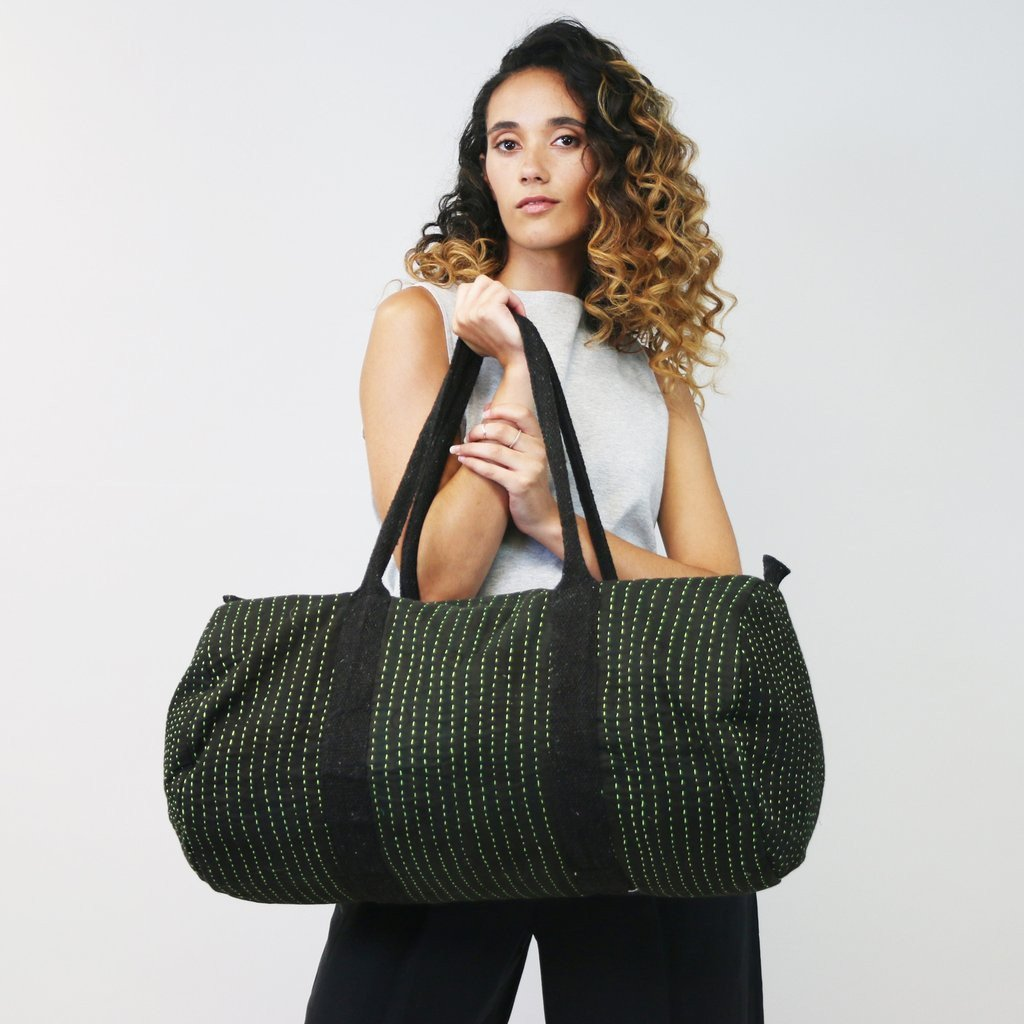 The one-of-a-kind weekender bag will guarantee you never see someone else carrying the same one!