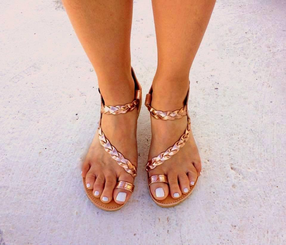 Aphrodite Rose Gold Plaited Sandals
