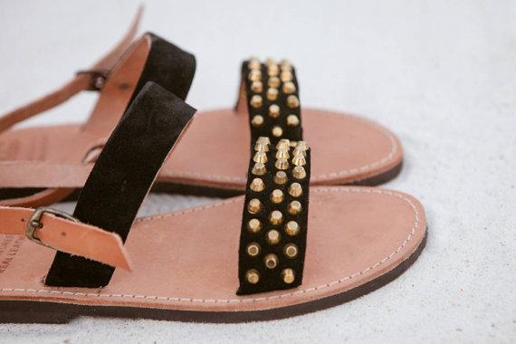 Black Suede Stud Sandals