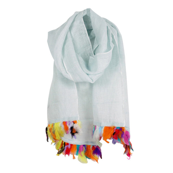 Linen & Feather Trim Scarf in Ice Blue