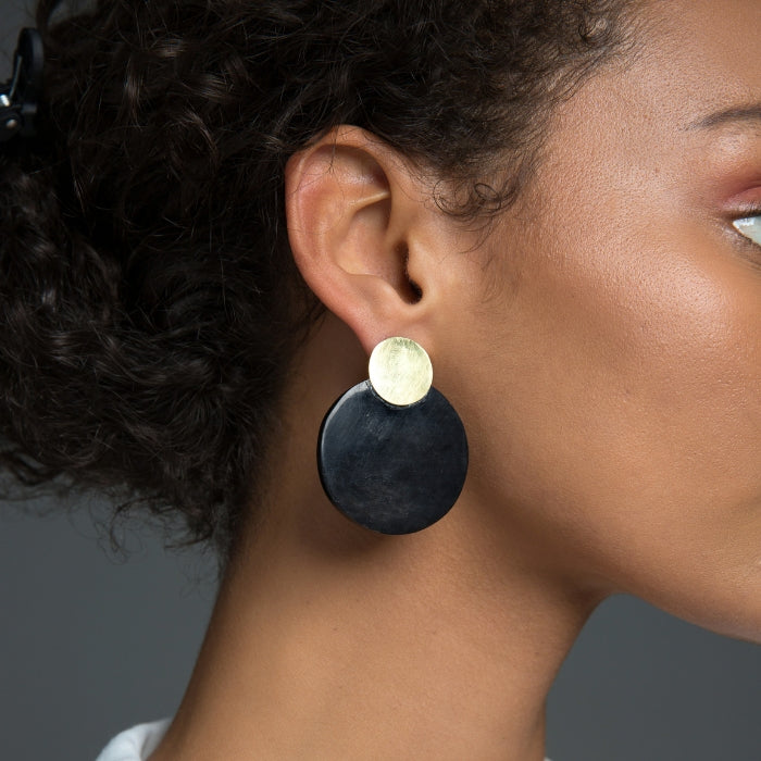 Maxi Contrast Coin Stud Earrings