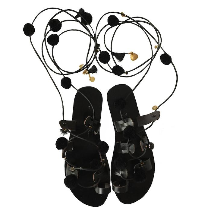 Sunday Tracker | The Ethical Fashion Store | Black Pom Pom, Tassel & Vintage Charm Sandals