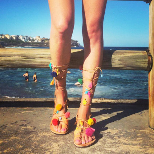 Sunday Tracker Pom Pom, Tassel, Charm Greek tie up boho Sandals