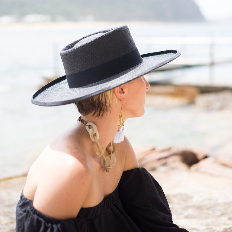 Shop G.Viteri panama planter hat in black at Sunday Tracker