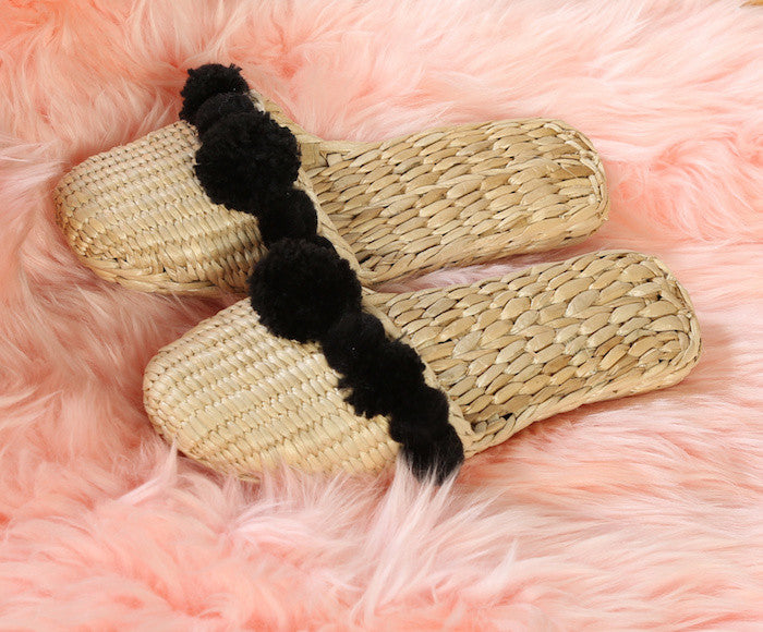 Woven Pom Pom Slippers in Black