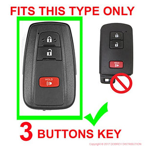 Silicone Protective 3 Button Smart Key Keyless Entry Fob Remote Cover Skin Case for Toyota Prius, CHR C-HR, Camry [SKU: TOYS3F]