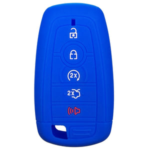 Silicone 5 Button Protective Rubber Smart Key Fob Remote Case Cover Jacket Skin for Ford [SKU: FRDS5C]