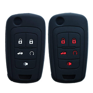 "Silicone 5 Button ""Flip"" Key Fob Remote Cover Jacket Skin for Chevrolet Camaro GMC Terrain Buick [SKU: GMS5C]"
