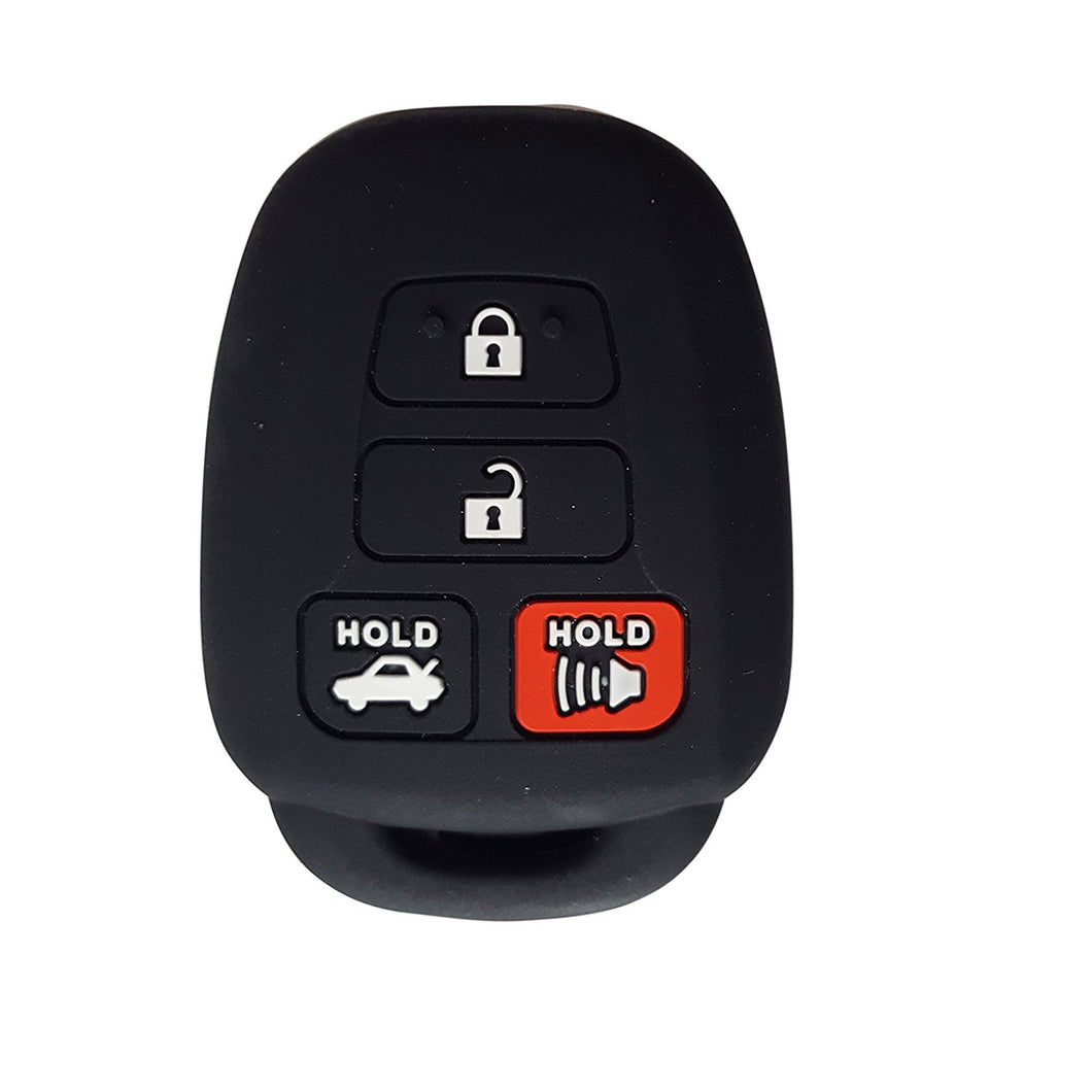 Toyota 4 Button Protective Silicone Rubber Key Fob Cover Case Jacket Skin [SKU: TOYS4B]