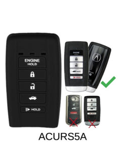 "ACURA 5 BUTTON PROTECTIVE ""SMART KEY"" FOB SILICONE RUBBER REMOTE COVER ILX RDX TLX MDX w Remote Start [SKU: ACURS5A]"